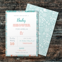A6 Layered Baby Shower Invitation
