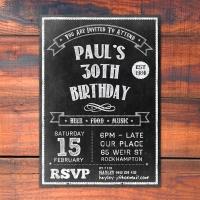 A5 Chalkboard Birthday Invitation