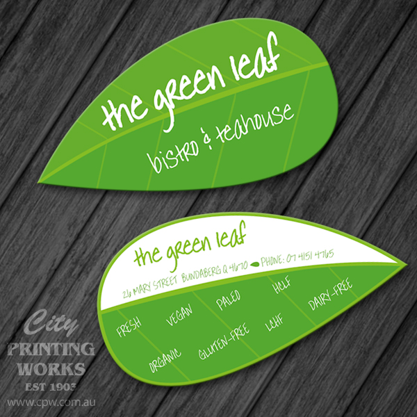 Die cut business cards city printing works for Leaf business cards