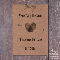 A6 Save the Date - kraft board with punched holes for string bow