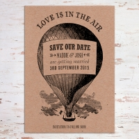 A6 Save the Date - vintage style on kraft board