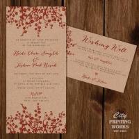 Cherry Blossom on Kraft Card - Wedding Invitation & Wishing Well Card