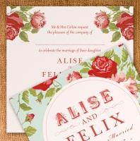Wedding Invitation 125mm x 125mm - vintage floral