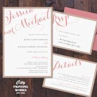 A6 Layered Wedding Invitation with RSVP & Details Card