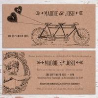 DL Wedding Invitation - vintage style on kraft board