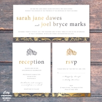 DL Wedding Invitation - grey & gold - with RSVP and Reception Cards