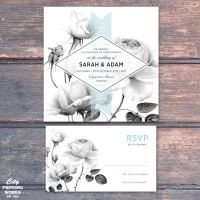 Square - Rose Wedding Invitation and RSVP