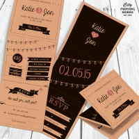 Folding Wedding Invitation with RSVP card