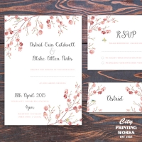 A6 Floral Wedding Invitation with RSVP and Placecard